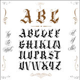 Tattoo old english. Famous tattoo old english vector lettering Royalty Free Stock Photos