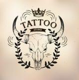 Tattoo old school studio skull bull. Vector tattoo studio logo templates on dark background. Cool retro styled vector emblems Stock Image