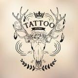 Tattoo old school studio skull deer. Vector tattoo studio logo templates on dark background. Cool retro styled vector emblems Royalty Free Stock Images