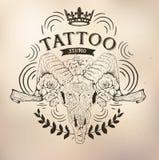 Tattoo old school studio skull ram. Vector tattoo studio logo templates on dark background. Cool retro styled vector emblems Stock Photos