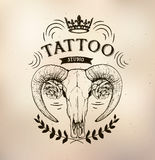 Tattoo old school studio skull sheep Stock Images