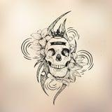Tattoo old school studio skull. Vector tattoo studio logo templates on dark background. Cool retro styled vector emblems Stock Image