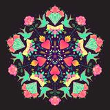 Tattoo old school style mandala. Vector illustration isolated. L Royalty Free Stock Photos