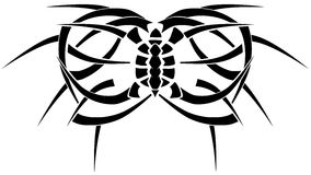Tattoo optical illusion with turtle and butterfly isolated stock photo