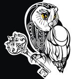 Tattoo owl with key. Decorative owl with key on black background Royalty Free Stock Photos