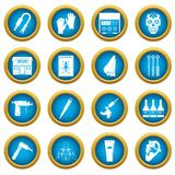 Tattoo parlor icons blue circle set. Isolated on white for digital marketing Royalty Free Stock Image