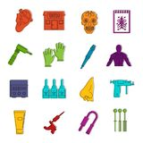 Tattoo parlor icons doodle set. Tattoo parlor icons set. Doodle illustration of vector icons isolated on white background for any web design Stock Photo