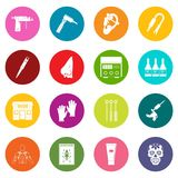 Tattoo parlor icons many colors set. Isolated on white for digital marketing Stock Image