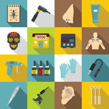 Tattoo parlor icons set, flat style. Tattoo parlor icons set. Flat illustration of 16 tattoo parlor vector icons for web Stock Photo