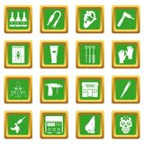 Tattoo parlor icons set green. Tattoo parlor icons set in green color isolated vector illustration for web and any design Royalty Free Stock Photo