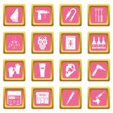 Tattoo parlor icons pink. Tattoo parlor icons set in pink color isolated vector illustration for web and any design Stock Images
