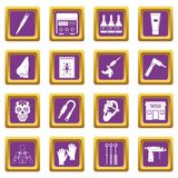 Tattoo parlor icons set purple. Tattoo parlor icons set in purple color isolated vector illustration for web and any design Royalty Free Stock Photo