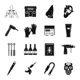 Tattoo parlor icons set, simple style. Tattoo parlor icons set. Simple illustration of 16 tattoo parlor vector icons for web Royalty Free Stock Image