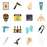 Tattoo parlor icons set vector flat. Tattoo parlor icons set. Flat illustration of 16 tattoo parlor vector icons isolated on white background Stock Images