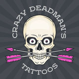 Tattoo parlor logo template. Hipster skull  Stock Images