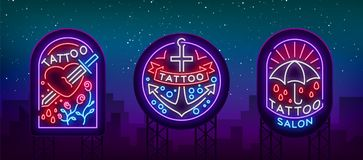 Tattoo parlor set of logos in neon style. Collection of neon signs, emblems, symbols, glowing billboard, neon bright. Advertising on the theme of tattoos, for Stock Image