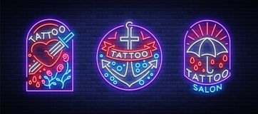 Tattoo parlor set of logos in neon style. Collection of neon signs, emblems, symbols, glowing billboard, neon bright. Advertising on the theme of tattoos, for Stock Photography