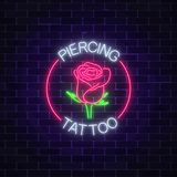 Tattoo and piercing parlor glowing neon signboard with rose emblem. Flower symbol in circle frame with text. Vector illustration Stock Image