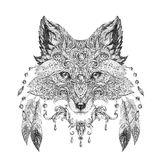 Tattoo, portrait of a wild fox. In hand-painted in black ink with ethnic ornaments Stock Image