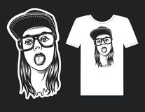 Tattoo of pretty young woman`s face. Vector hand drawn design for print. Black and white girl`s face with glasses and cap. Modern style of woman`s face for Stock Photos