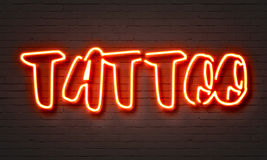 Tattoo red neon sign Royalty Free Stock Image