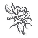 Tattoo of rose. Silhouette of a black rose on a white background Royalty Free Stock Image