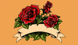 Tattoo Roses and Banner. Vector tattoo red roses with leafs and banner Royalty Free Stock Image