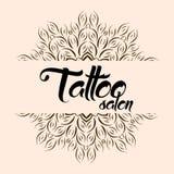 Tattoo salon emblem logo with mandala. Flower logotype element, pattern sign ornate, vector illustration Stock Photography