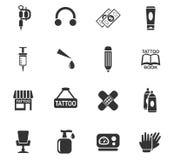 Tattoo salon icon set Royalty Free Stock Photo