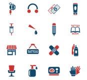 Tattoo salon icon set Stock Images