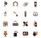 Tattoo salon icon set Stock Photography