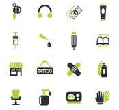 Tattoo salon icon set Royalty Free Stock Photography