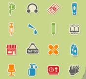 Tattoo salon icon set Stock Image