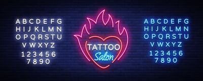 Tattoo salon logo vector. Neon sign, a symbol of heart in the fire, a bright luminous billboard, neon bright advertising. On a tattoo theme, for a tattoo salon Royalty Free Stock Photography