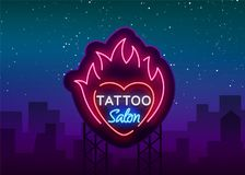 Tattoo salon logo vector. Neon sign, a symbol of heart in the fire, a bright luminous billboard, a night banner, neon. Bright advertising on a tattoo theme, for Stock Images