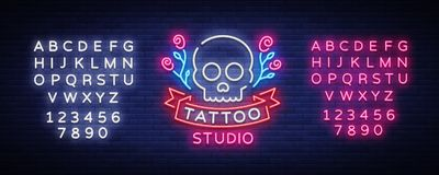 Tattoo salon logo vector. Neon sign, symbol of a skull with roses, bright luminous billboard, neon bright advertising on Royalty Free Stock Images