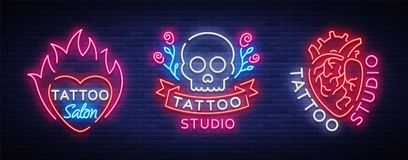 Tattoo salon set of logos vector. Collection of neon signs, symbols of the human heart, skull with roses, bright. Luminous billboard, neon bright advertising on Stock Photos