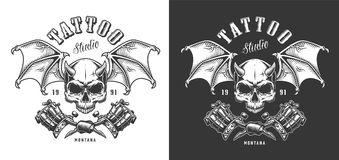 Tattoo saloon emblem. With skull and wings. Vector illustration stock illustration