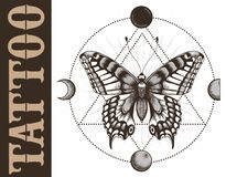 Tattoo school banner with butterfly, triangle geometry, moon phases. Mystical symbol of soul, immortality, rebirth. Vector banner for tattoo parlor, studio and royalty free illustration