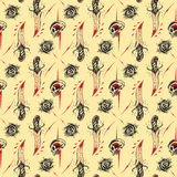 Tattoo seamless Pattern. In old school style royalty free illustration