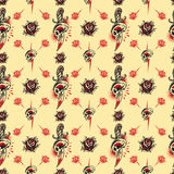 Tattoo seamless Pattern. In old school style stock illustration
