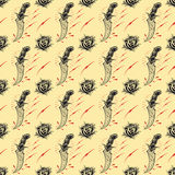 Tattoo seamless Pattern. In old school style set 01 royalty free illustration