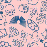 Tattoo seamless pattern. Skull and brass knuckles. Rose and hear Royalty Free Stock Photography