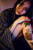 Tattoo Seductive Sexy Teen Girl Vogue Youth Concept Royalty Free Stock Photos