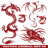 Tattoo set Dragons. Vector set: templates dragons for tattoo and design on different topics Stock Photos