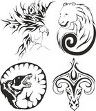 Tattoo set with eagle, bear, wolf and ram Stock Photos