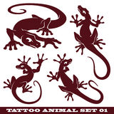 Tattoo set Gekko Stock Image