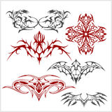 Tattoo set in tribal style on white background Royalty Free Stock Images
