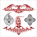 Tattoo set in tribal style on white background. Symmetric tattoo set in tribal style on white background Royalty Free Stock Images