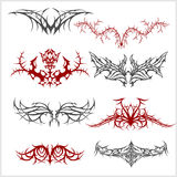 Tattoo set in tribal style on white background Stock Photography